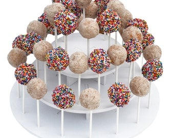 3 Tier Round Cake Pop Stand-Reusable and Adjustable - Holds up to 40 sticks - Perfect for Weddings, Birthdays, Holidays or any Event
