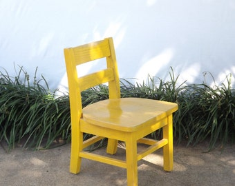 Small Wooden Chair, Vintage Childs Chair, Little Yellow School Desk Chair, Baby Doll Chair