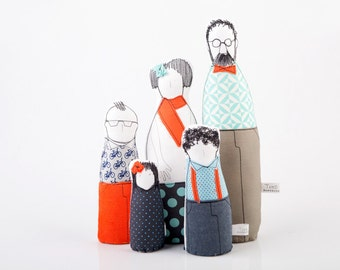 Mother's Day gift - Family portrait - Soft sculptur - art dolls - Couple and three children in Geometric Orange & Blue, handmade eco dolls