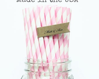100 Pink Paper Straws Made in USA, Wedding Table Setting, Baby Shower, Party Supplies, Rustic, Vintage, Straws, Pink Lemonade, Paper Goods