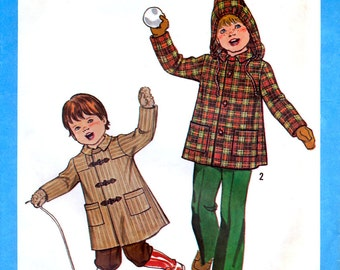 Simplicity 8635 Vintage 70s Child's Unlined Coat or Jacket with Detachable Hood Sewing Pattern - Uncut - Size 6