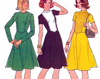 Simplicity 6762 Vintage 70s Misses' Dress Sewing Pattern - Uncut - Sizes 10 or 16