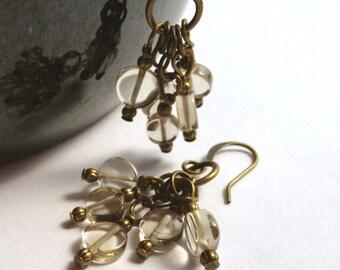 Light Brown Smoky Quartz, Brass Bronze Antique Gold Dangle Earrings