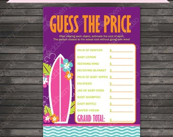Girl Surfer Baby Shower Price Is Right Game - Girl Baby Shower Games Printable - Instant Download - surfing baby shower game - surfboard