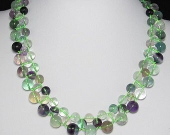 Necklace 18 inch IN 3 rows Fluorite and 925 Silver