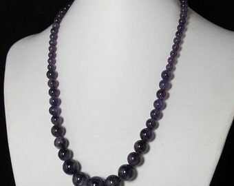 Necklace 51cm IN Amethyst round Beads and 925 silver