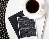 EE Cummings Blank Greeting Card, Black Envelope and Notecard, Literary Quote, Black