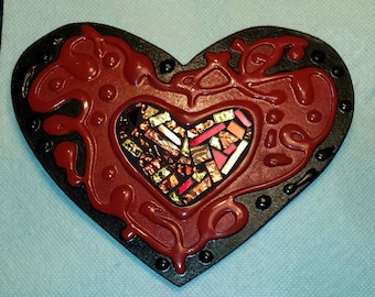 MOSAIC HEART - Red & Black with Gold, Red and Bronze Metallic Mirrored Glass in the Center - OOAK  / Ready to Ship  /  Unique!