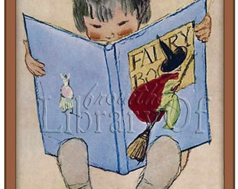 The Fairy Book - Personalized bookplates -  ADHESIVE Bookplates - For girl or Boy - Vintage Art - Mother Goose