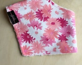 Bandana Bib in Pink Daisy Cotton, Dribble Bib, Baby Girl