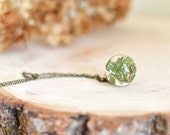 moss necklace resin jewelry - nature inspired - lichen necklace terrarium necklace nature necklace, gift under 40, flower girl gift