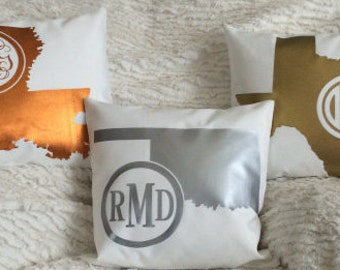 METALLIC monogrammed STATE throw pillow - 14x14 - copper, gold or silver