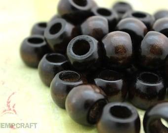 Large Wood Beads, 16mm Dark Brown Barrel Wooden Beads, Macrame Beads, 24pc