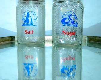 vintage 1930s Hazel Atlas shakers Dutch salt jar / sugar jars