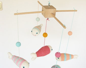Nursery Mobile / Colorful Fish Baby Mobile / Baby Mobile for Girls, Nursery Decor