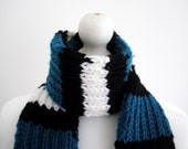 SALE knitted chunky black / white / turquoise striped winter scarf
