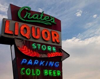 Crates Liquor Neon Sign Print   Reto Home Bar Decor