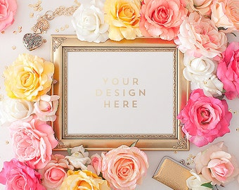 Gold Frame with Flowers, Roses, Spring, Product / Frame Mockup Frame Mock Up for Bloggers, Wall Art Display Template Styled Desk Photography