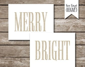 """Gold Glitter -  Merry & Bright  - 10x8"""" Instant Download - Christmas Art Printables - Holiday art"""