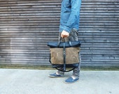 """18"""" waxed canvas bag carry all / messenger bag with leather fold to close top, and adjustable shoulderstrap UNISEX"""