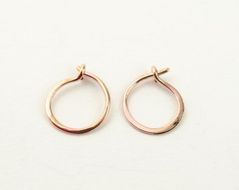 Tiny Rose Gold Hoop Earrings, Classic Rose Gold Hoops, Rose Gold Plated Wire, Minimalist, Modern Jewelry, Hand Made, Gift, EAR001