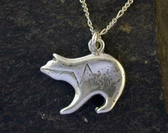 Sterling Silver Spirit Bear Pendant on a Sterling Silver Chain.