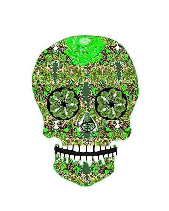 Skull Painting, Day of the Dead Art Print,  flower skull, day of the dead skull, decorated skull, GREEN GUY, goth, gothic