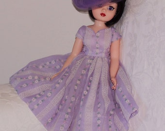 "Beautiful 1950's Style Dress and Hat for 21"" Cissy Doll - Pretty Vintage Fabrics. Original Madame Alexander Cissy Doll."