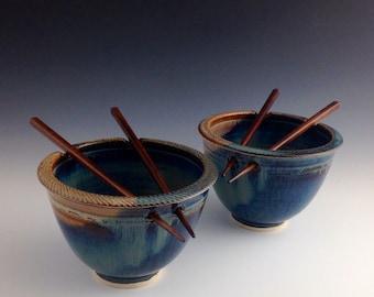 Pair Rice / Noodle bowls - Blue