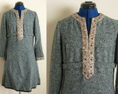 RONA Blue and Brown Winter Party Dress with Rhinestone Embellishments, Small or Medium, Bust 39, Waist 32