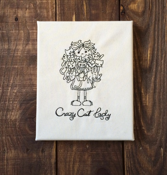 Embroidered Canvas Wall Art - Crazy Cat Lady