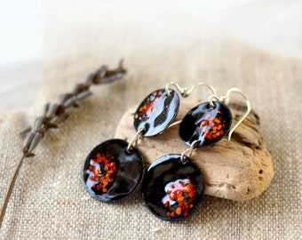 Long dangle earrings - black multicolor enamel earrings - copper sterling silver - artisan jewelry by Alery
