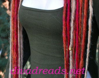 Mixed Red and Blond Dread Lock Falls