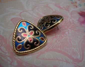 Vintage Metal Earrings Triangles Gold Red Royal Blue Black Retro Jewelry Post Earrings Red Earrings JCLA
