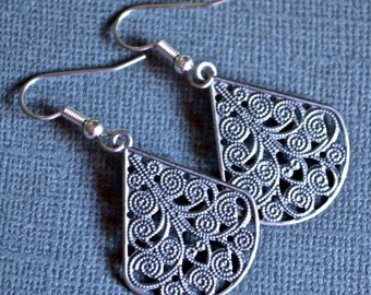 Antiqued Silver Filigree Teardrops . Earrings . Adele Collection