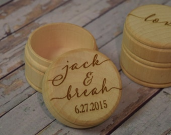 Couple's Names and Wedding Date Wooden Trinket Box -  Wedding Ring Keepsake, Jewelry Box, Ring Bearer Box