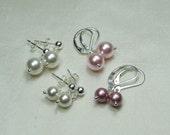 Bridesmaid Jewelry Pearl Bridesmaid Earrings Set of 3 Pearl Bridal Earrings Pearl Bridal Jewelry Bridesmaid Gift Pearl Earrings