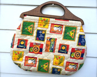Vintage Wood Handle Fabric Purse, Kitsch Retro Print, Quilted Clutch, Handbag, Orange Lining, Kitty-Cats, Fruit Labels, 1960's/1970's