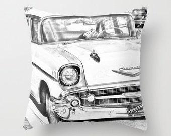 Vintage Car Photo Pillow Cover, Black and White , Pillow Case, Decorative Pillow