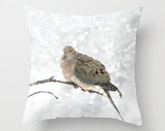 Mourning Dove, Home Decor, Nature Pillow Case, Bird Pillow Cover, White