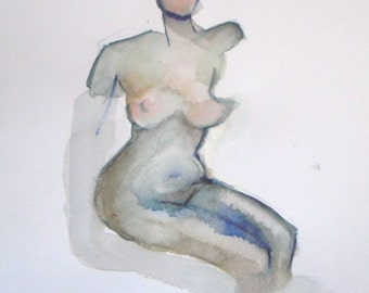 Early Pregnancy - nude painting - figure painting - female - figurative watercolor painting