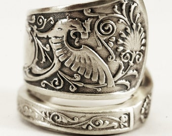Griffin Ring, Victorian Gryphon Ring, Sterling Silver Spoon Ring, Dragon Ring, Unique Ring for Her, Handmade Gift Adjustable Ring Size, 1780