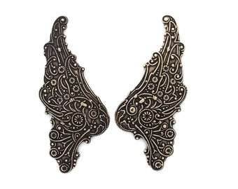 Filigree Wings in Ox Brass Stampings 55 mm x 23 mm Qty 1 Pair One Made in the USA by Dr Brassy Steampunk Supplies