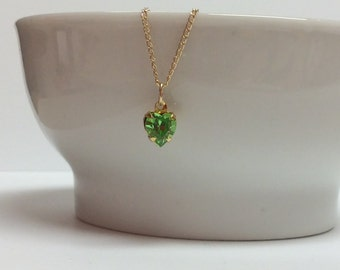 Dainty Peridot Swarovski heart and Gold-filled chain - August birthday necklace - Free shipping to Canada & USA