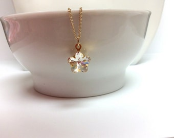 Swarovski crystal flower pendant and Gold-filled chain - April birthstone necklace - Clear crystal - Free shipping to Canada & USA