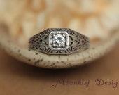 Moissanite Filigree Edwardian Style Square Engagement Ring in Sterling - Silver Filigree Wedding Anniversary Ring, Diamond Alternative