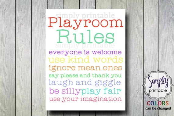 Playroom Rules 11x14 Printable Digital Print