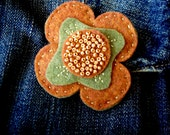 Autumn felt flower brooch... nutmeg and olive with gold beads seeds... bohemian hippie fashion... beautiful and unique gift... ready to ship