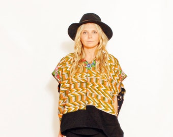 Vintage Ethnic Embroidered Huipil Top, Poncho