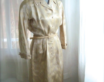 1960's Cocktail Dress, Champagne and Gold Shirt Dress, Size Large